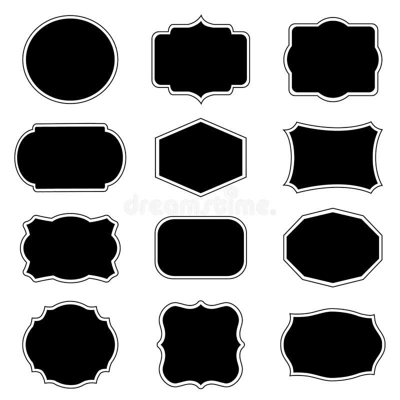 Méga de cadre vide et de label réglé Illustration de vecteur illustration libre de droits