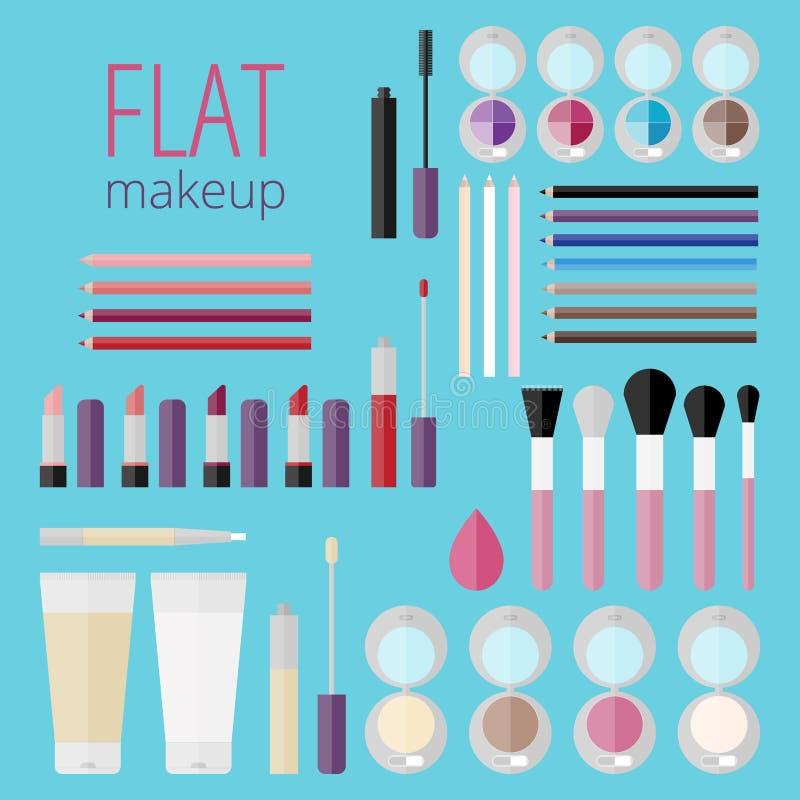 Méga plat réglé des produits de maquillage illustration stock