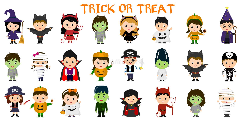 Méga réglé des caractères de partie de Halloween Vingt-quatre enfants dans différents costumes pour Halloween sur un fond blanc B illustration de vecteur