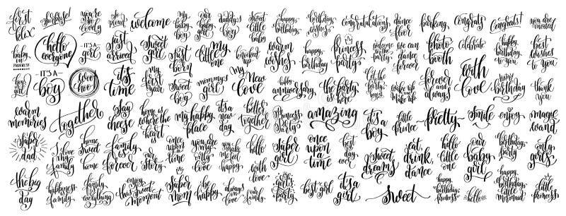 Méga réglé du lettrage écrit 100 par mains illustration de vecteur