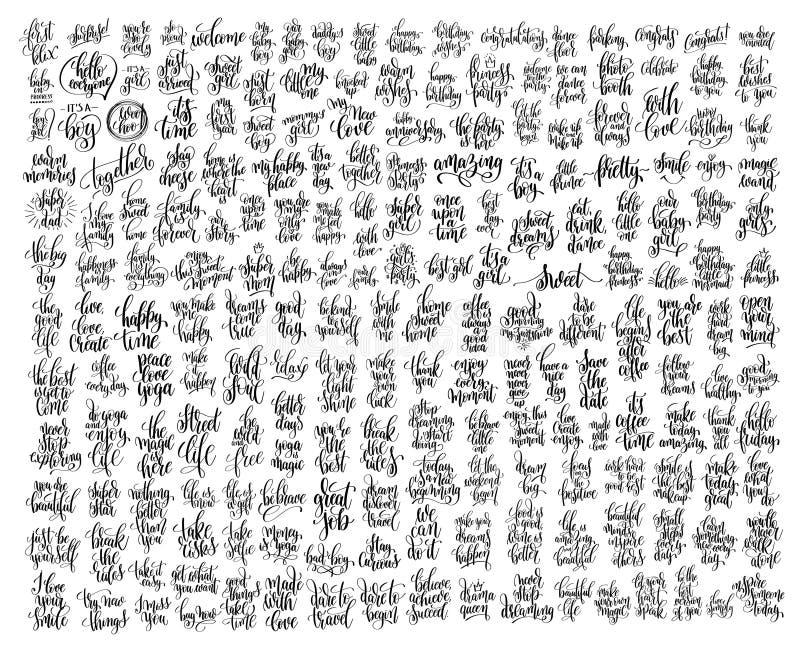Méga réglé du lettrage noir et blanc de la main 200 illustration stock