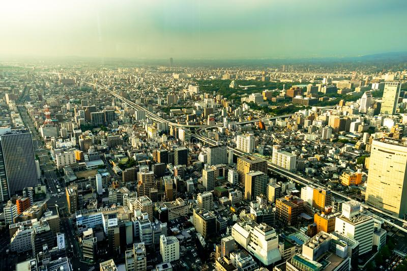 Mégalopole de Nagoya de vue de panorama d'horizon de place intérieure images stock