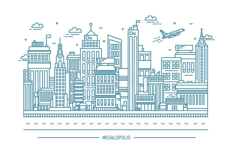 Mégalopole, la grande vie de ville, courbe de niveau illustration d'art illustration libre de droits