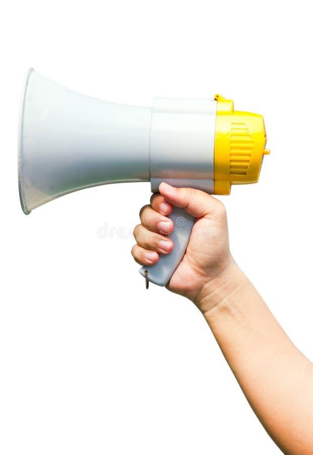 Mégaphone à disposition. photographie stock libre de droits