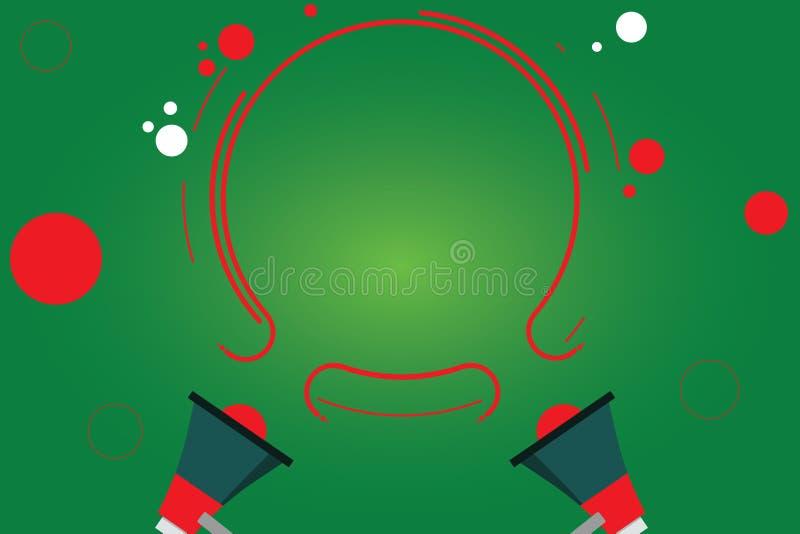 Mégaphone abstrait moderne du fond deux de l'espace vide de copie de concept d'affaires de conception et contour circulaire avec  illustration libre de droits