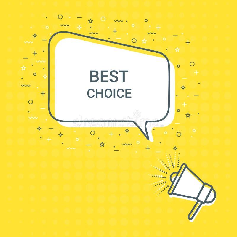 Mégaphone avec la meilleure bulle bien choisie de la parole haut-parleur Illustrations pour le marketing de promotion pour des co illustration de vecteur