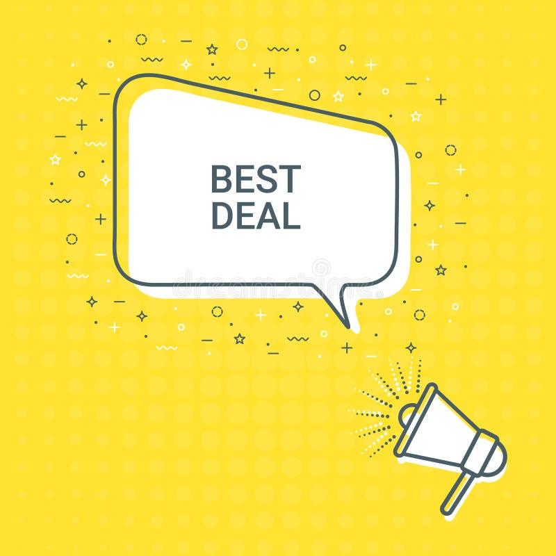 Mégaphone avec la meilleure bulle de la parole d'affaire haut-parleur Illustrations pour le marketing de promotion pour des copie illustration de vecteur