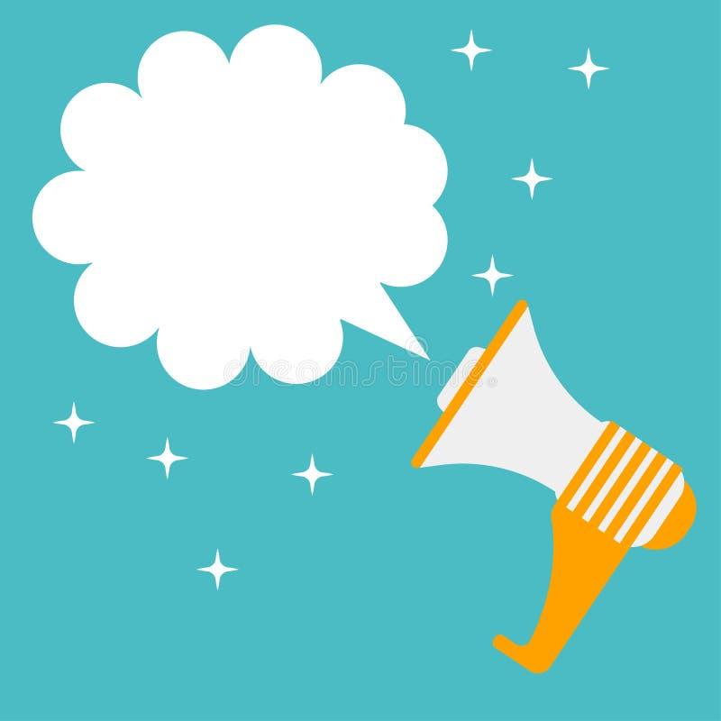 Mégaphone d'isolement sur le fond Corne de brume avec la bulle de la parole Haut-parleur, haut-parleur Media social, concept numé illustration de vecteur