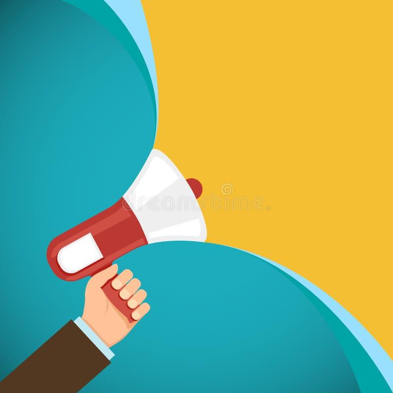 Mégaphone dans la main humaine Vente et promotions Démocratie et illustration de vecteur