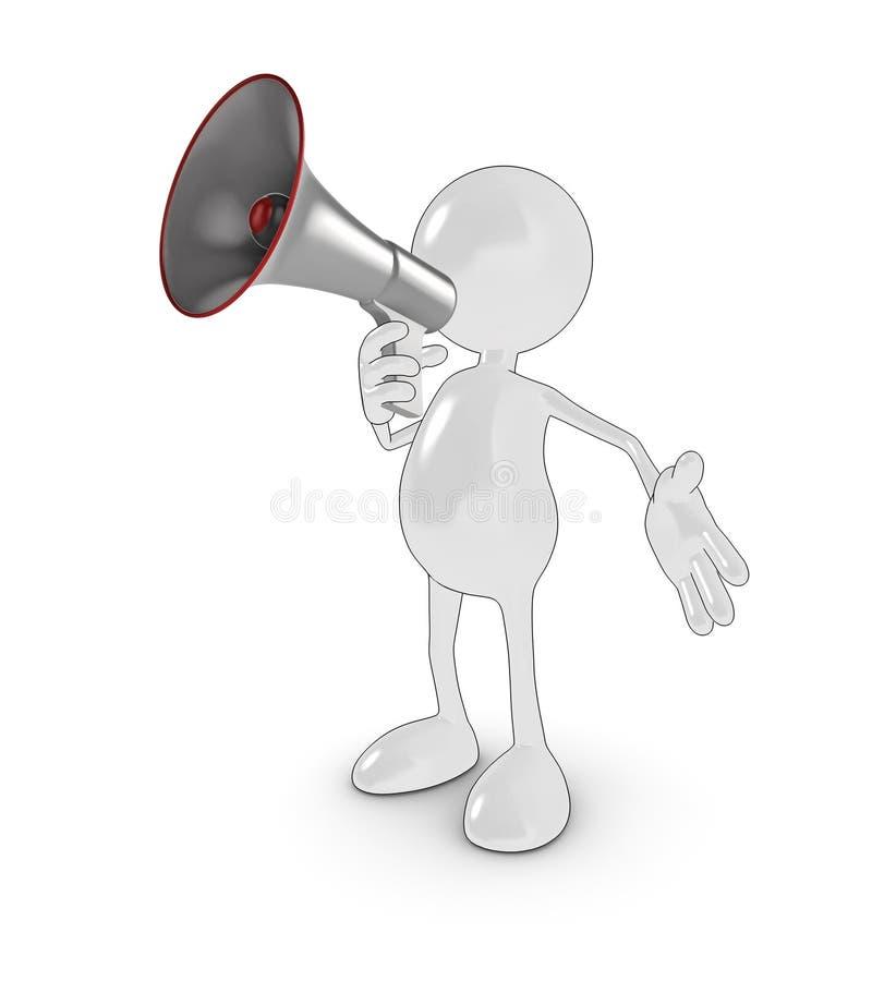 mégaphone de l'homme 3d illustration stock