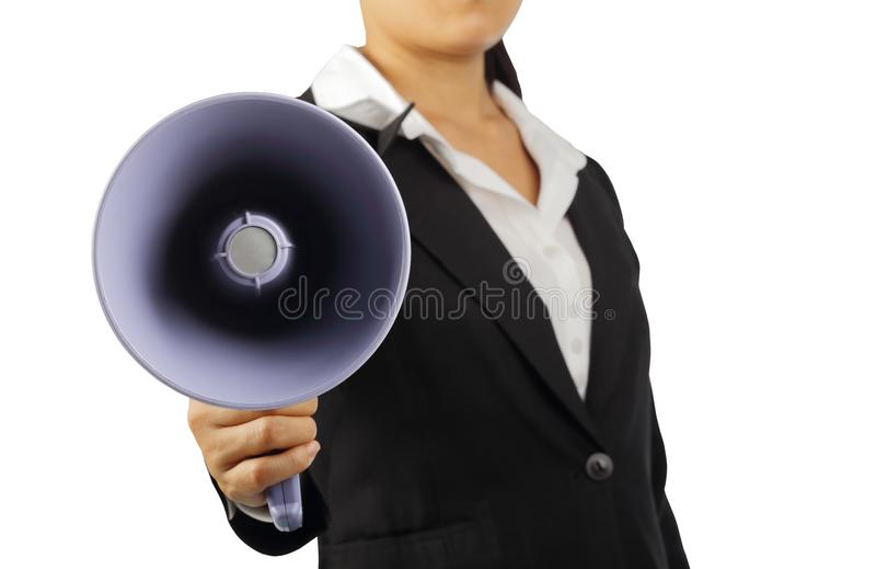 Mégaphone de participation de femme d'affaires d'isolement avec le chemin de coupure image libre de droits