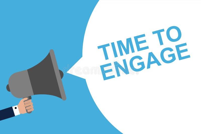 Mégaphone de participation de main avec du TEMPS de bulle de la parole DE S'ENGAGER Annonce Illustration de vecteur illustration libre de droits