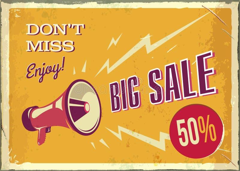 Mégaphone de vintage de vecteur Grande affiche de vente avec la texture grunge Rétro mégaphone sur le fond orange avec l'endroit  illustration stock