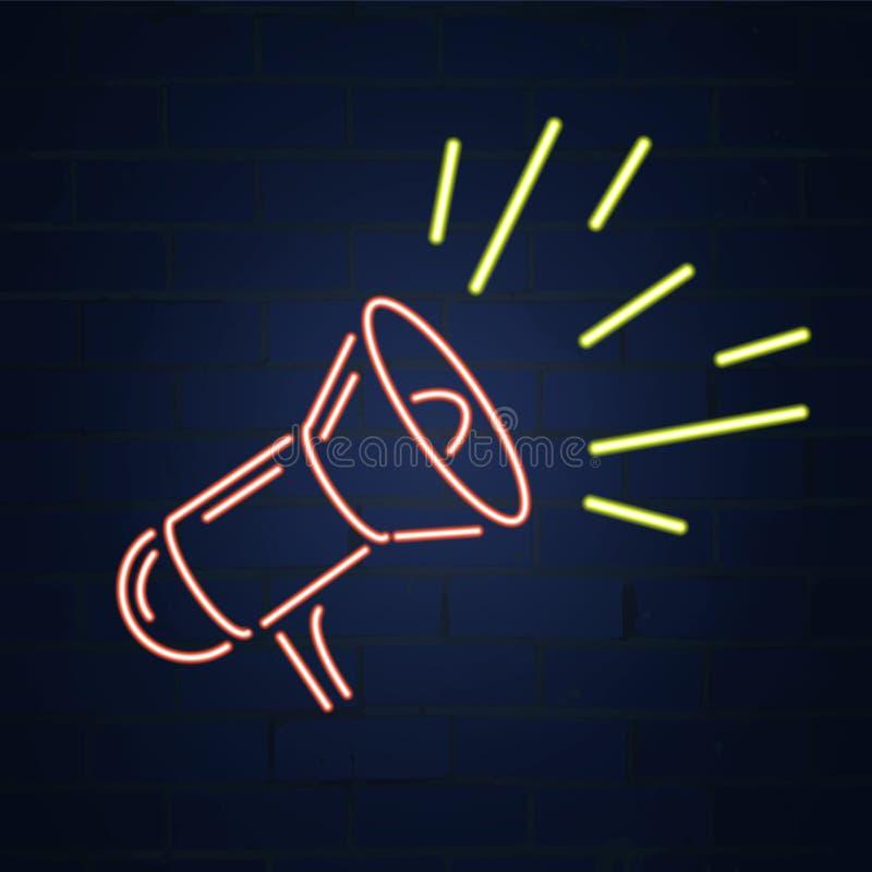 Mégaphone, haut-parleur dans le style au néon Conception d'illustration de vecteur illustration de vecteur