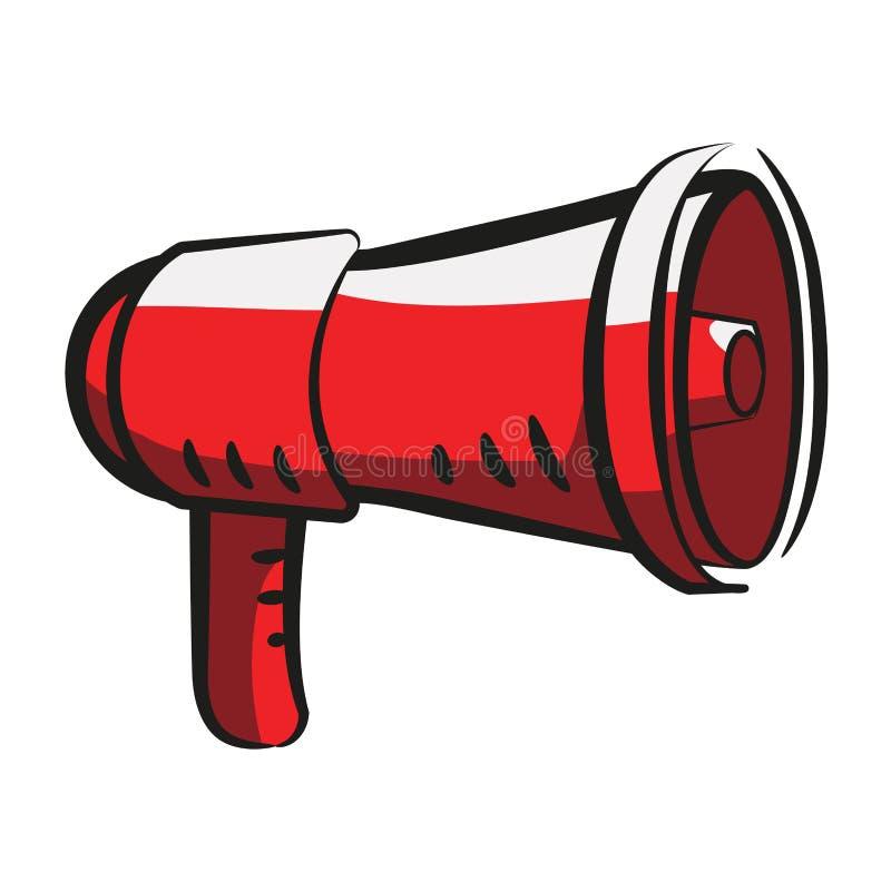 Mégaphone, le haut-parleur rouge dans le style de bande dessinée Signe, icône, symbole Illustration courante de vecteur sur le fo illustration stock