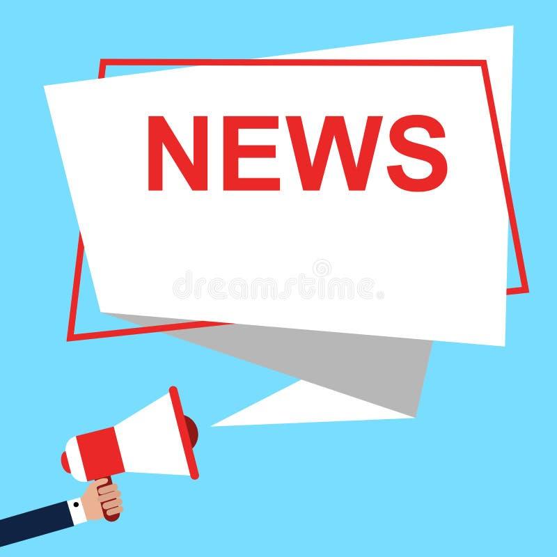 Mégaphone masculin de participation de main avec la parole de NOUVELLES Haut-parleur avec le texte de NOUVELLES Illustration de v illustration stock