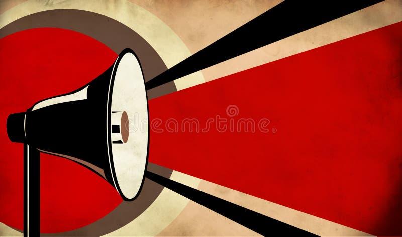Mégaphone ou haut-parleur sur le fond grunge illustration de vecteur