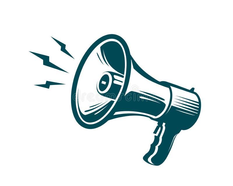 Mégaphone, symbole de haut-parleur La publicité, vente, concept d'actualités Illustration de vecteur illustration stock