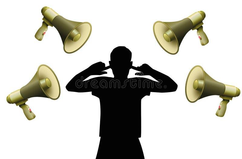 Mégaphones bruyants d'oreilles de couverture de pollution acoustique illustration de vecteur