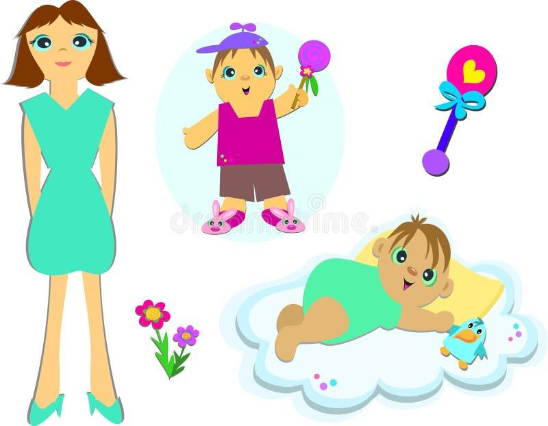 Mélange de mère et d'enfants illustration stock