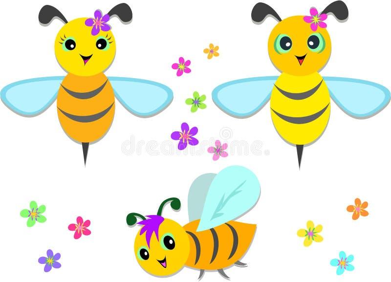 Mélange des abeilles et des fleurs de vol illustration libre de droits