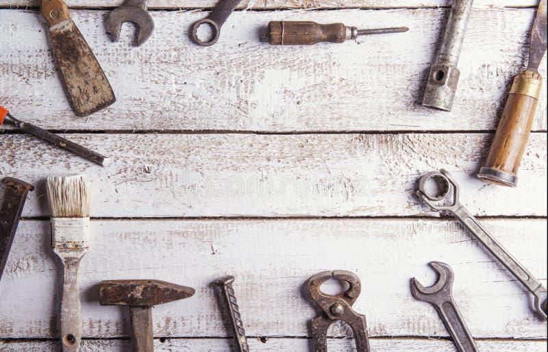 Mélange des outils de travail image libre de droits
