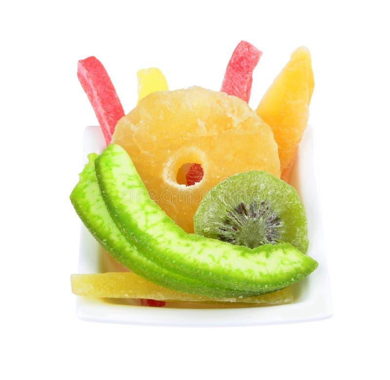 Mélange du fruit tropical sec d'isolement images stock