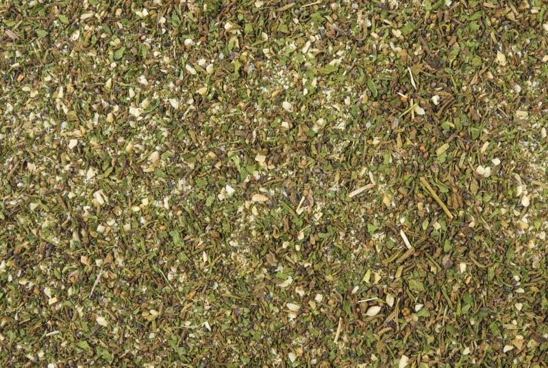 Mélange ou fond savoureux vert de Chubritsa Texture de assaisonnement naturelle Épices et ingrédients de nourriture naturels images stock