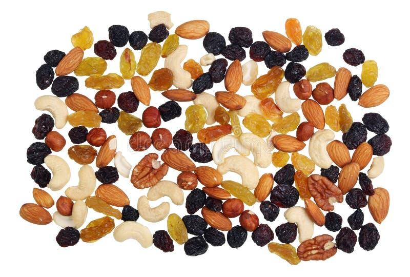 Mélange utile de calorie nutritive des écrous et des fruits secs photographie stock libre de droits