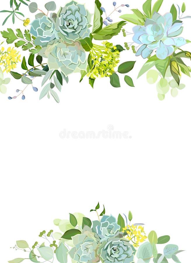Mélange vert d'hortensia, succulents, echeveria, eucalyptus, wildf illustration de vecteur