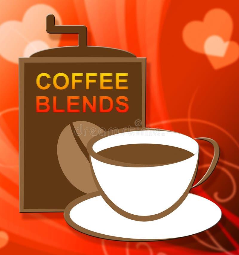Mélanges de café représentant le mélange ou les types mélangés illustration stock