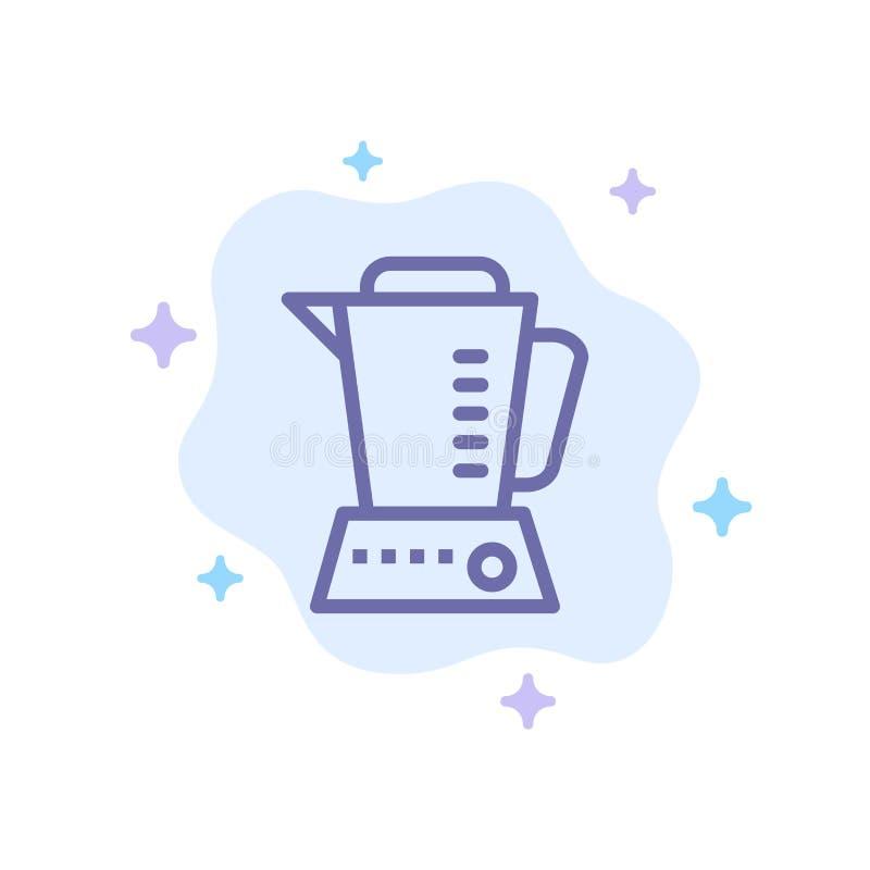Mélangeur, électrique, à la maison, icône bleue de machine sur le fond abstrait de nuage illustration libre de droits