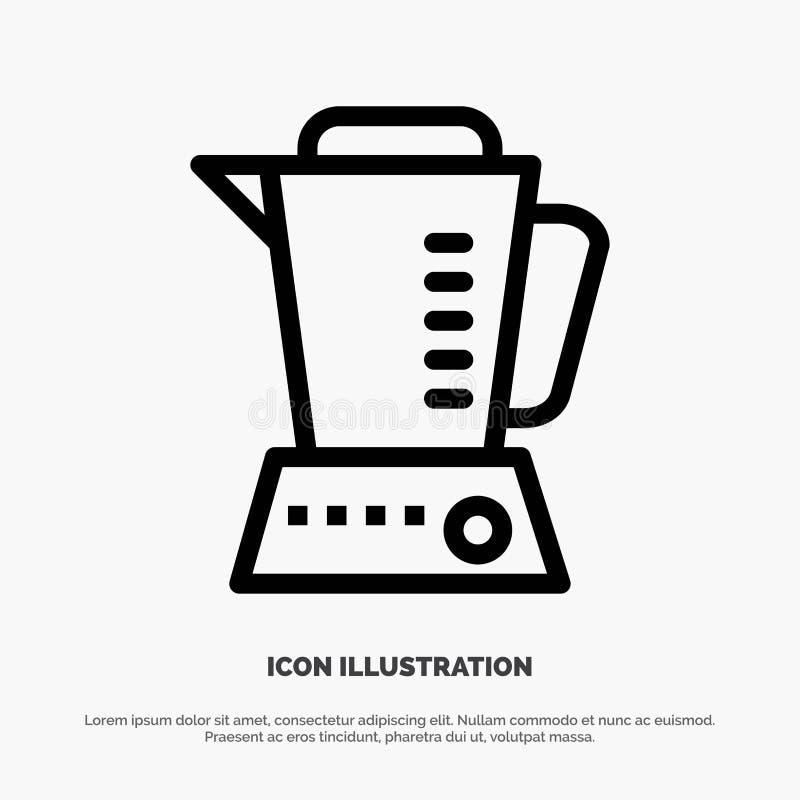 Mélangeur, électrique, à la maison, ligne icône de vecteur de machine illustration de vecteur