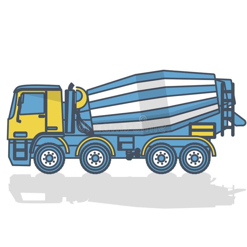 Mélangeur concret décrit sur le blanc Travaux jaunes bleus de machines et d'au sol de construction illustration stock