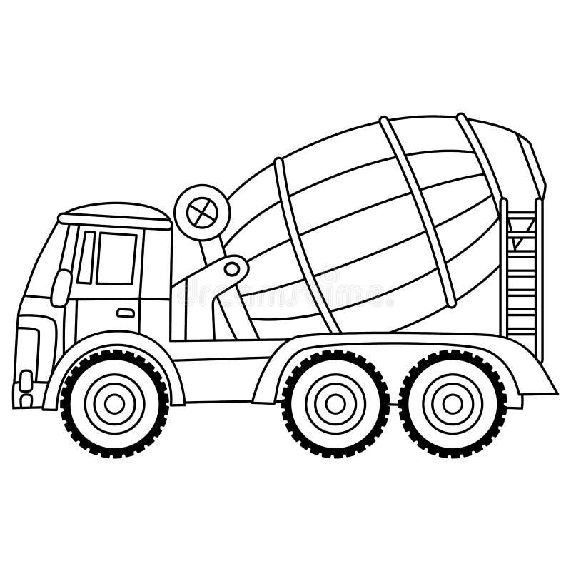 Mélangeur concret de vecteur Mélangeur de ciment de vecteur Mélangeur concret noir et blanc illustration libre de droits