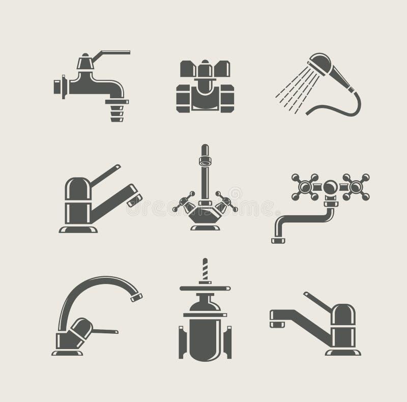 Mélangeur de robinet d'alimentation en eau, prise, soupape pour l'eau illustration de vecteur