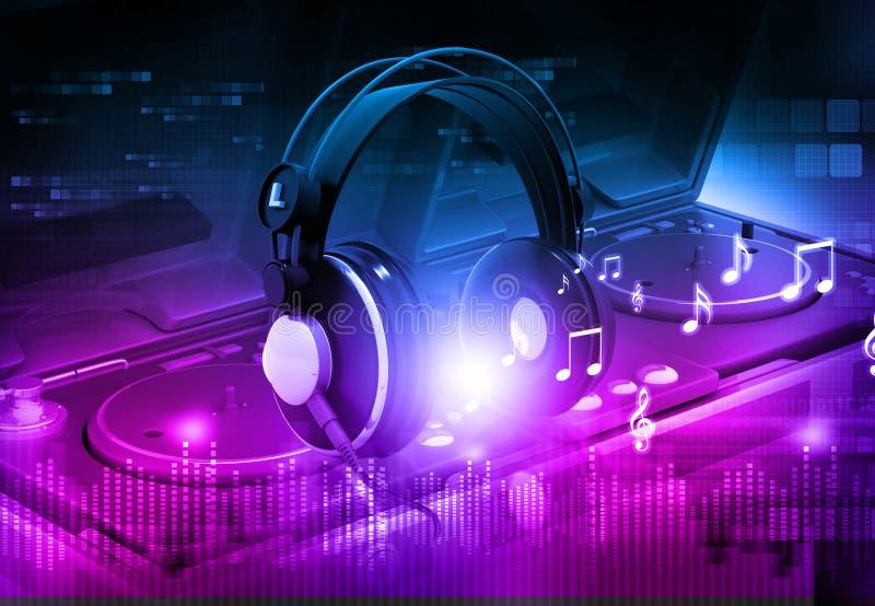 Mélangeur du DJ avec des écouteurs illustration de vecteur