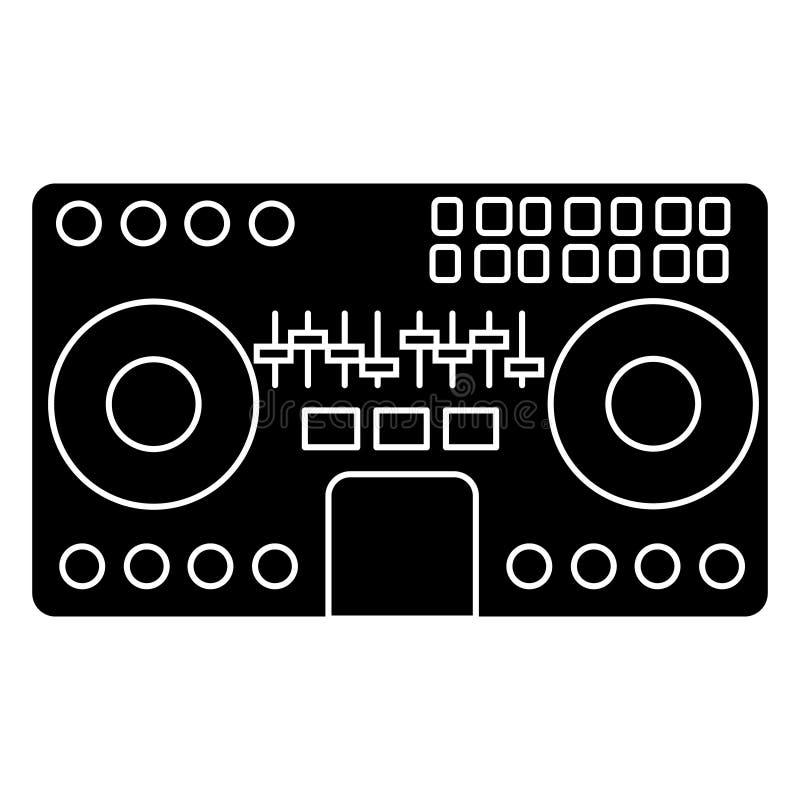 Mélangeur du DJ - musique de mélange - partie - icône de techno, illustration de vecteur, signe noir illustration libre de droits