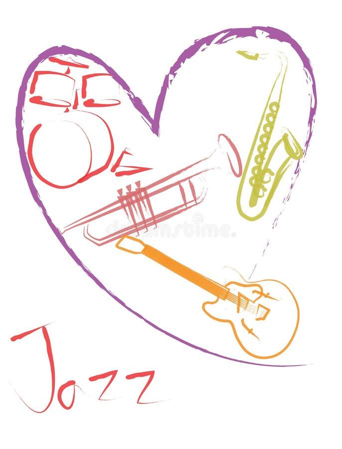 mélomane de jazz de ‹de ¹ d'à de ‹de ¹ d'à illustration de vecteur