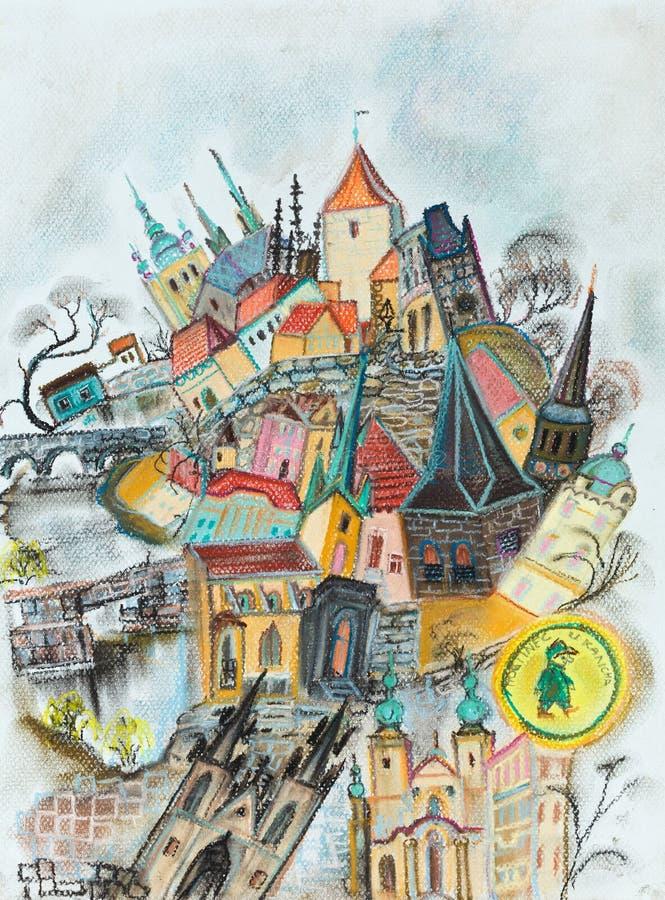 Mémoires au sujet de Praga illustration libre de droits