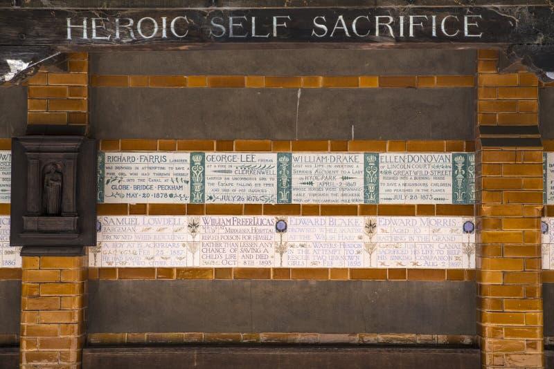 Mémorial au dévouement héroïque à Londres photos libres de droits