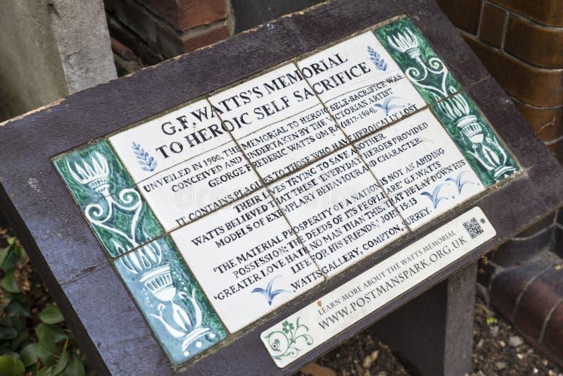 Mémorial au dévouement héroïque à Londres photos stock