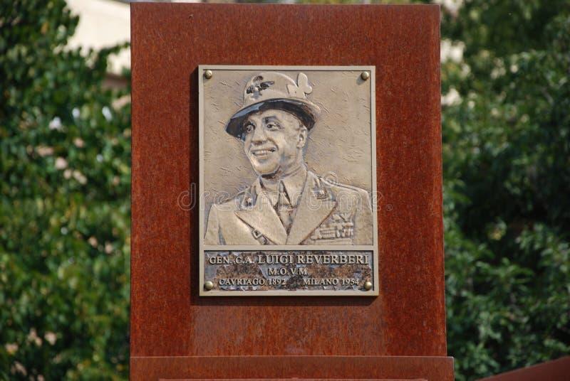 Mémorial au Général Reverberi image libre de droits