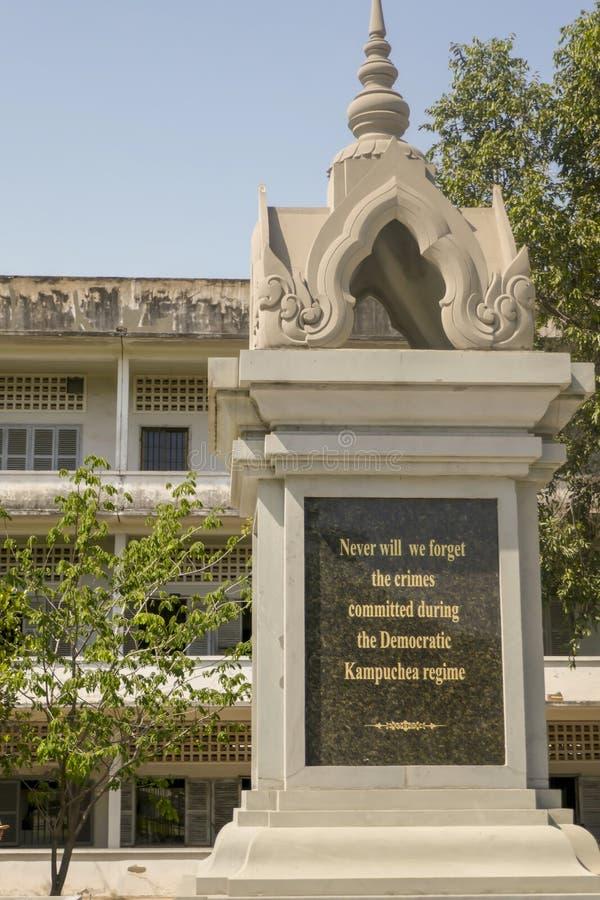 Mémorial aux victimes au musée de génocide de Tuol Sleng dans Phnom Penh Cambodge photos libres de droits
