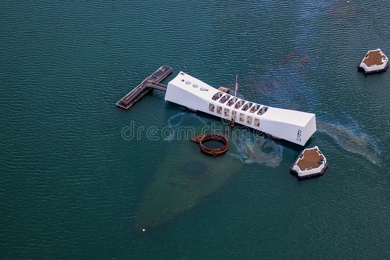 Mémorial d'USS Arizona dans Pearl Harbor Honolulu Hawaï image libre de droits