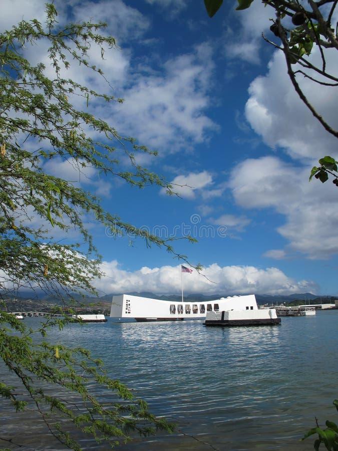 Mémorial d'USS Arizona - vue de rivage images libres de droits