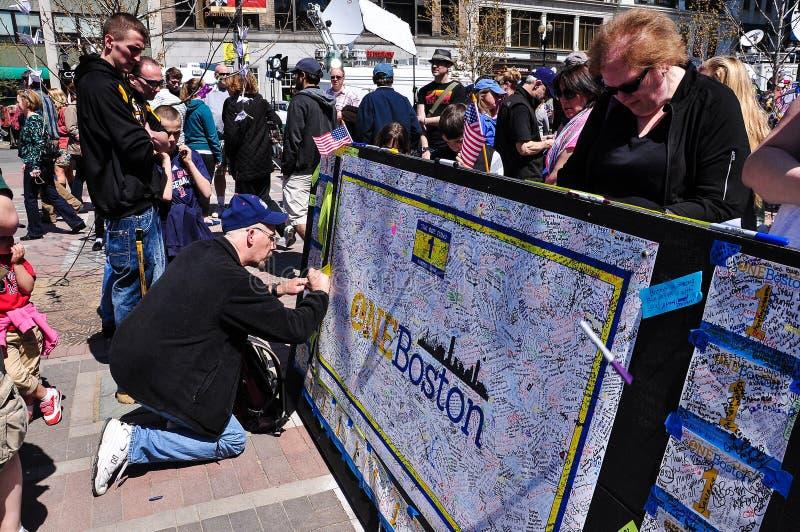 Mémorial de bombardement de marathon de Boston, Etats-Unis photo libre de droits