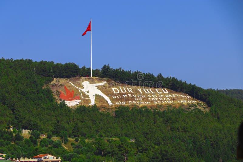Mémorial de Dur Yolcu dans Canakkale photographie stock libre de droits