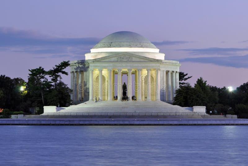 Mémorial de Jefferson au crépuscule image stock