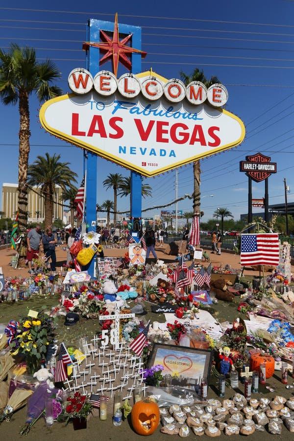 Mémorial de Las Vegas au signe bienvenu historique images stock